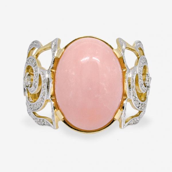 Ювелирное кольцо из жёлтого золота 585 пробы с розовым опалом и бриллиантами ROp/r-6515