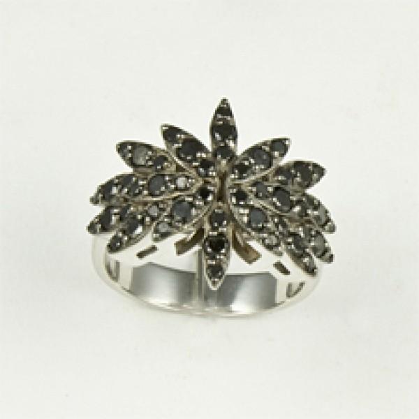 Ювелирное кольцо из белого золота 585 пробы с чёрными бриллиантами RDb-6216-2w