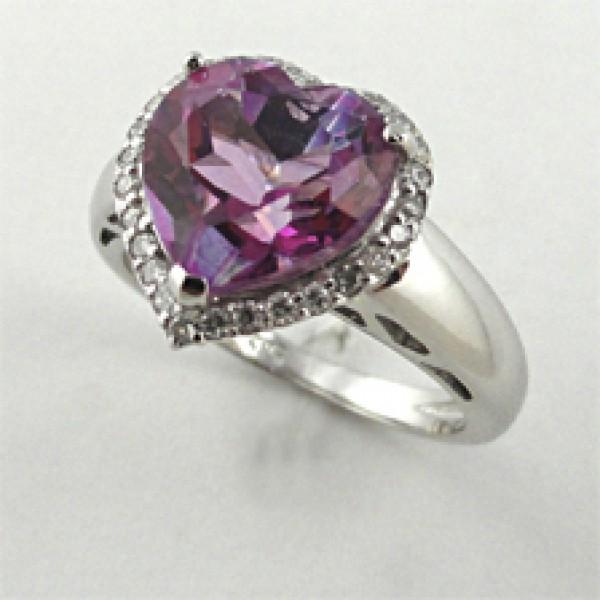 Ювелирное кольцо из белого золота 585 пробы с розовым топазом и бриллиантами RT\r-6608w