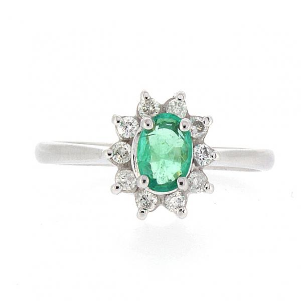 Ювелирное кольцо из белого золота 585 пробы с изумрудом и бриллиантами RE-4235w