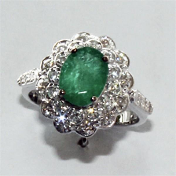 Ювелирное кольцо из белого золота 585 пробы с изумрудом и бриллиантами RE-6283w
