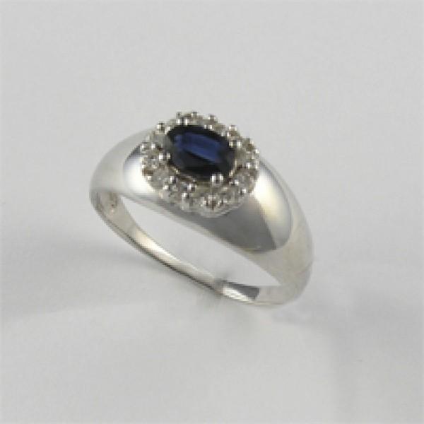Ювелирное кольцо из белого золота 585 пробы с сапфиром и бриллиантами RS-3606w