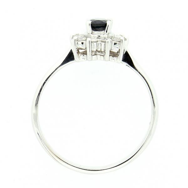 Ювелирное кольцо из белого золота 585 пробы с сапфиром и бриллиантами RS-4235w