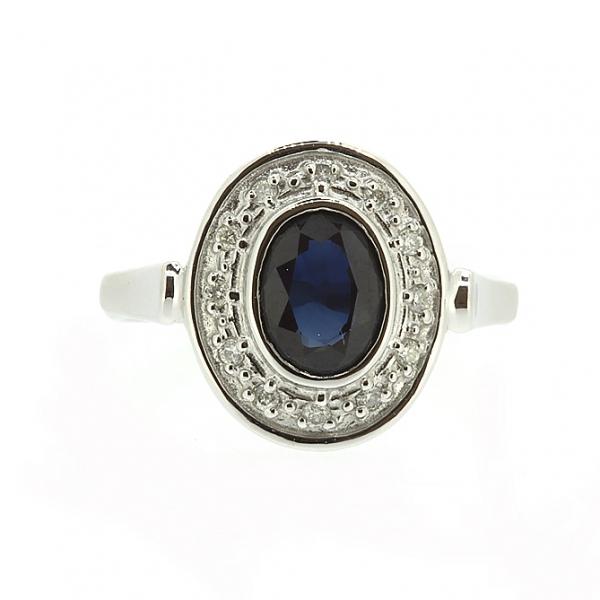 Ювелирное кольцо из белого золота 585 пробы с сапфиром и бриллиантами RS-6171w