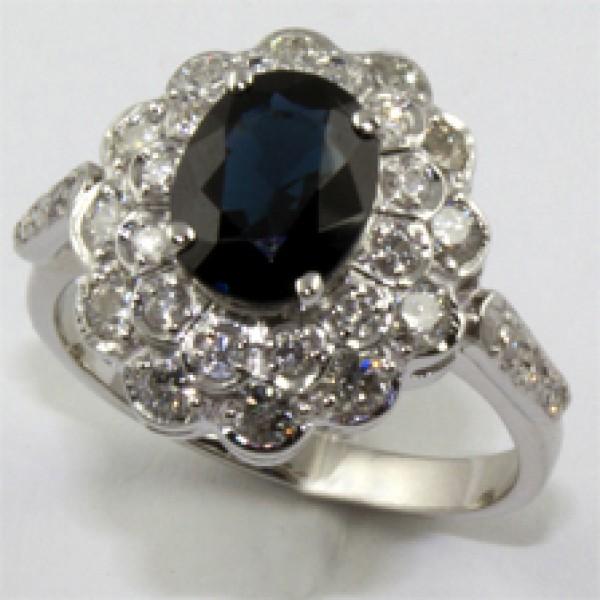 Ювелирное кольцо из белого золота 585 пробы с сапфиром и бриллиантами RS-6283w