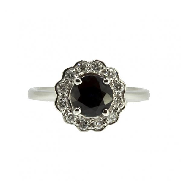 Ювелирное кольцо из белого золота 585 пробы с сапфиром и бриллиантами RS-6287w