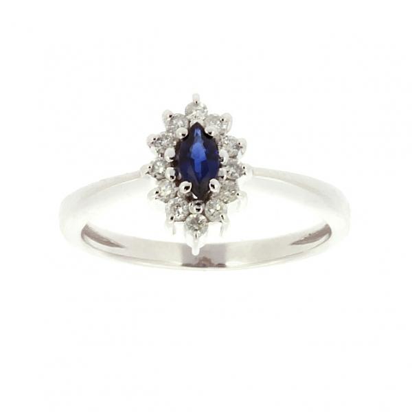 Ювелирное кольцо из белого золота 585 пробы с сапфиром и бриллиантами RS-9040w