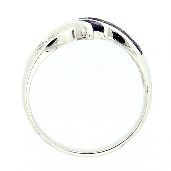 Ювелирное кольцо из белого золота 585 пробы с сапфирами и бриллиантами RS-6116w