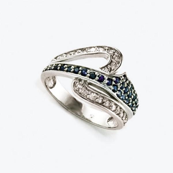 Ювелирное кольцо из белого золота 585 пробы с сапфирами и бриллиантами RS-6505w