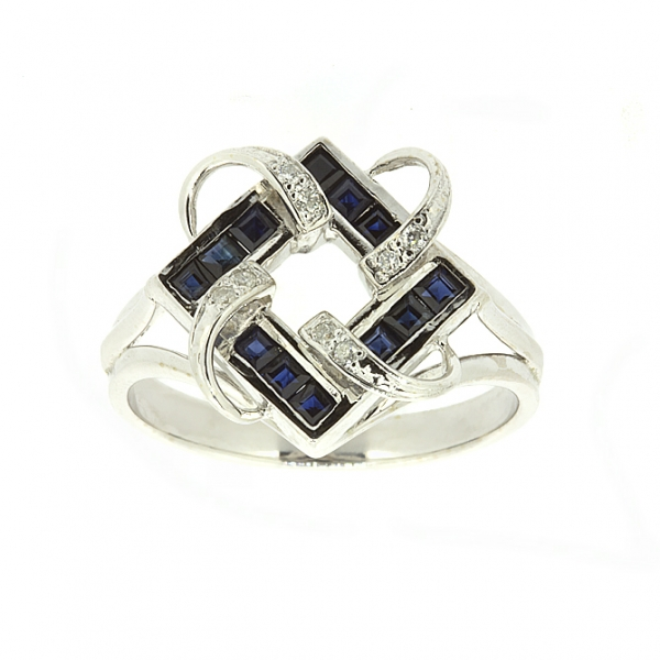 Ювелирное кольцо из белого золота 585 пробы с сапфирами и бриллиантами RS-6165w