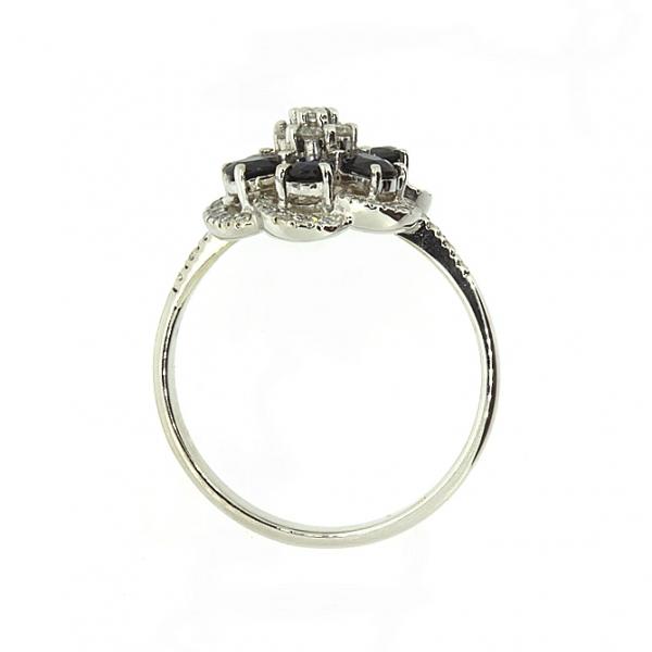 Ювелирное кольцо из белого золота 585 пробы с сапфирами и бриллиантами RS-6623w