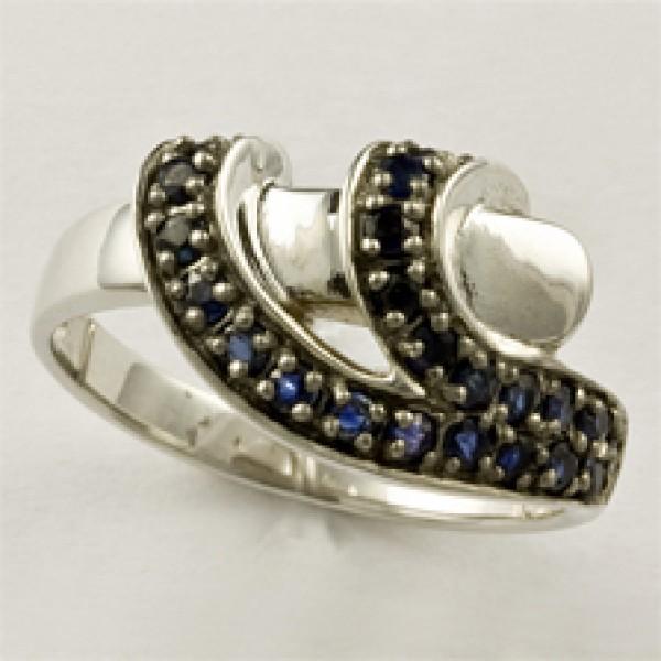 Ювелирное кольцо из белого золота 585 пробы с сапфирами RS-6511w