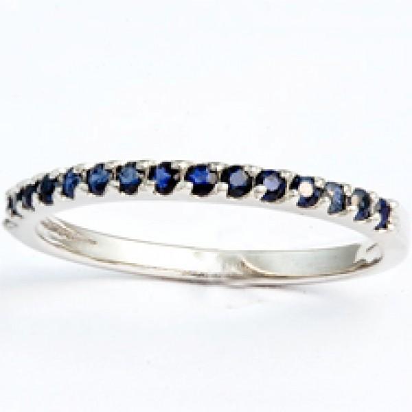 Ювелирное кольцо из белого золота 585 пробы с сапфирами RS-15446w