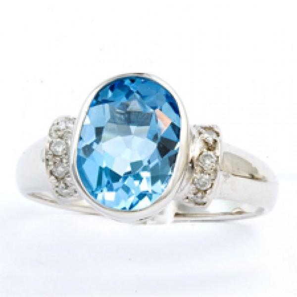 Ювелирное кольцо из белого золота 585 пробы с топазом и бриллиантами RT-3612w
