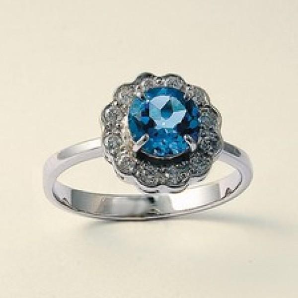 Ювелирное кольцо из белого золота 585 пробы с топазом и бриллиантами RT-6287w