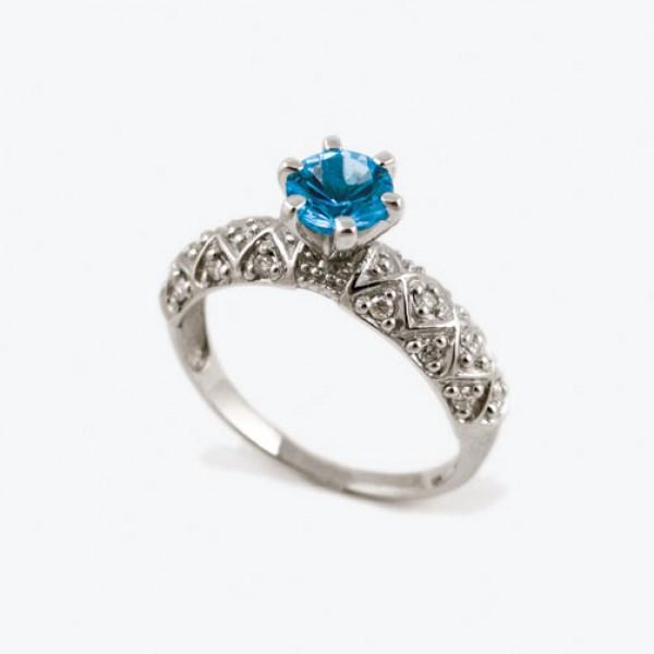 Ювелирное кольцо из белого золота 585 пробы с топазом и бриллиантами RT-6563w