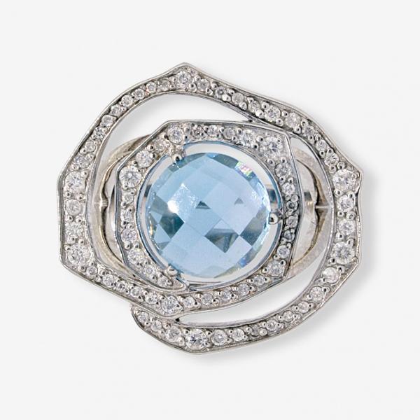 Ювелирное кольцо из белого золота 585 пробы с топазом и бриллиантами RT-6579w