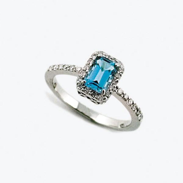 Ювелирное кольцо из белого золота 585 пробы с топазом и бриллиантами RT-6602w