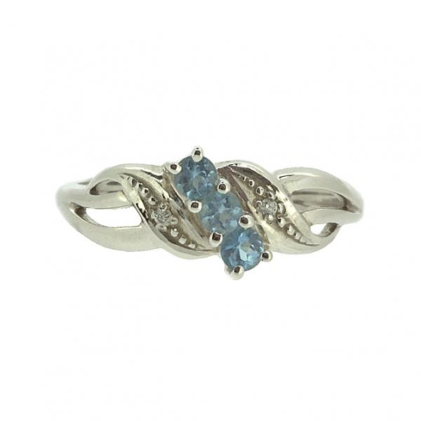 Ювелирное кольцо из белого золота 585 пробы с топазами и бриллиантами RT-6053w