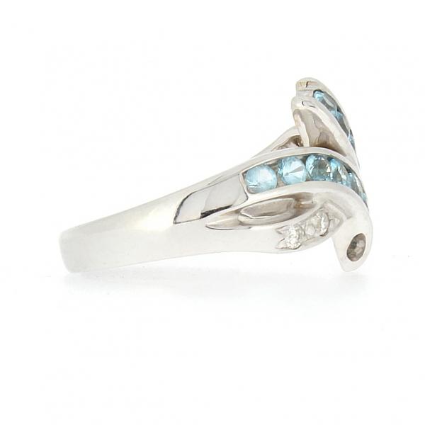 Ювелирное кольцо из белого золота 585 пробы с топазами и бриллиантами RT-6116w