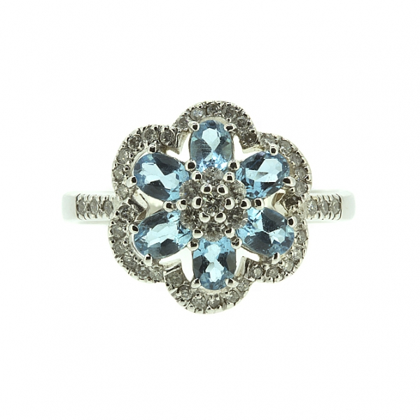 Ювелирное кольцо из белого золота 585 пробы с топазами и бриллиантами RT-6623w
