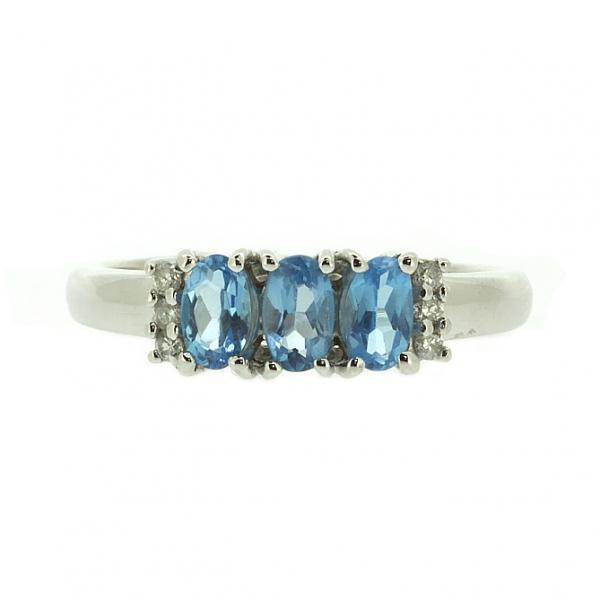 Ювелирное кольцо из белого золота 585 пробы с топазами и бриллиантами RT-10353w