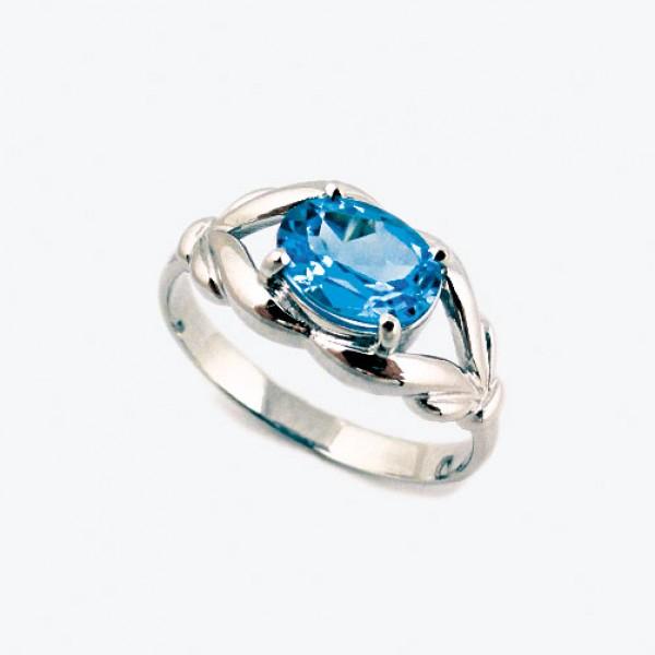 Ювелирное кольцо из белого золота 585 пробы с топазом RT-6599w