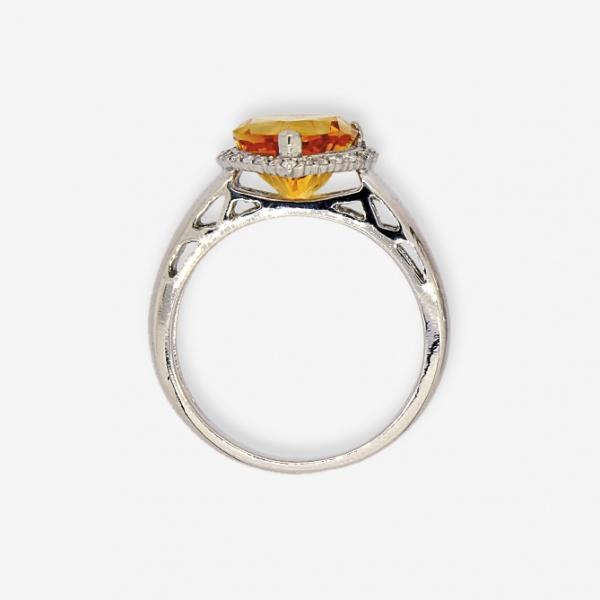 Ювелирное кольцо из белого золота 585 пробы с цитрином и бриллиантами RCt-6608w