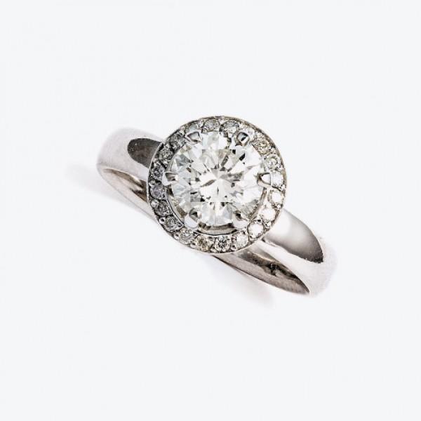 Ювелирное кольцо из белого золота 585 пробы с бриллиантами RD-6338/3w