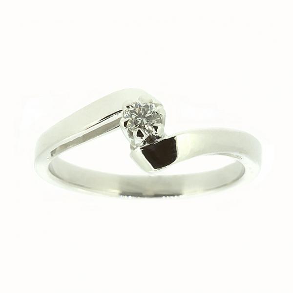 Ювелирное кольцо из белого золота 585 пробы с бриллиантом RD-7392w