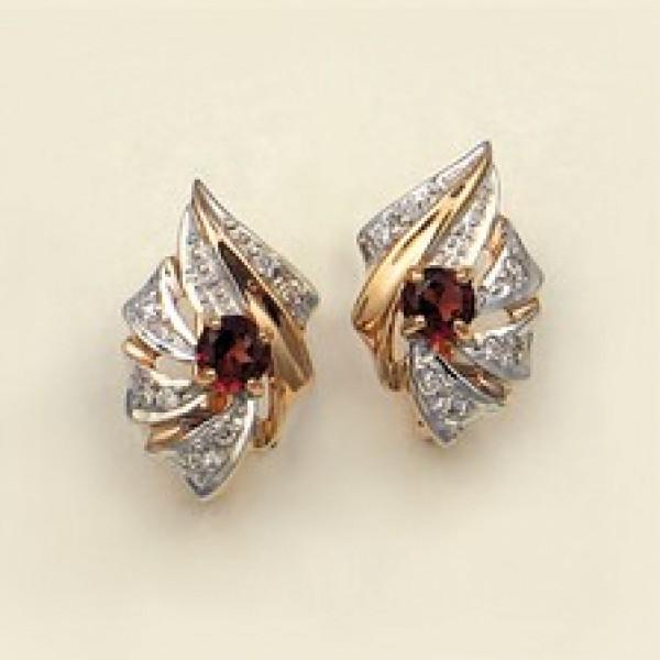 Ювелирные серьги из красного золота 585 пробы с гранатами и бриллиантами EGn-5008