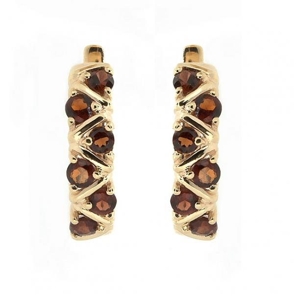 Золотые серьги из красного золота 585 пробы с гранатами EGn-16531
