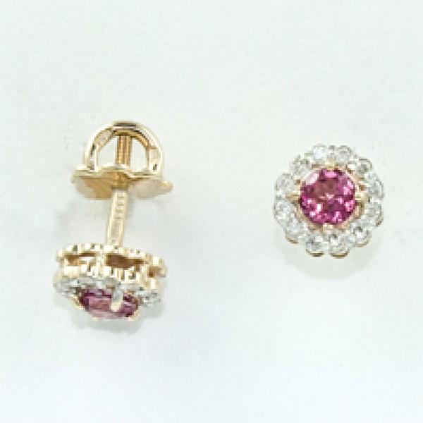 Золотые серьги-пусеты в красном золоте с розовым топазом и бриллиантами ETr-6539