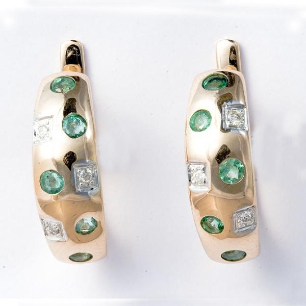 Ювелирные серьги из красного золота 585 пробы с изумрудами и бриллиантами EE-6136