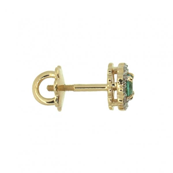 Золотые серьги-пусеты в красном золоте с изумрудами и бриллиантами EE-6539