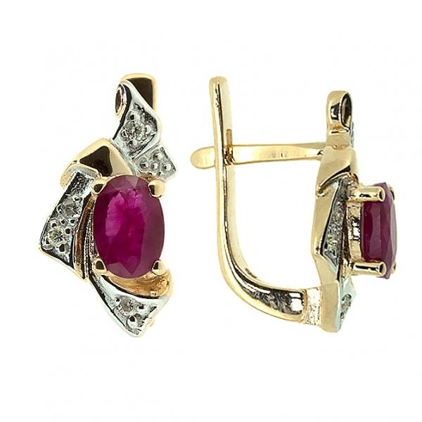 Ювелирные серьги из красного золота 585 пробы с рубинами и бриллиантами BLR-1045
