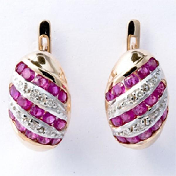 Золотые серьги из красного золота 585 пробы с рубинами и бриллиантами ER-16530