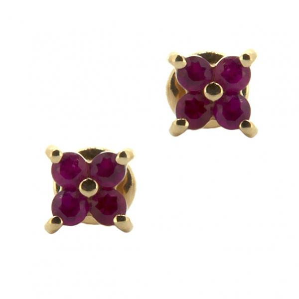 Золотые серьги-пусеты в красном золоте с рубинами ER-6560