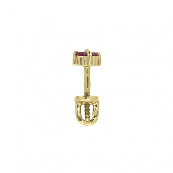 Золотые серьги-пусеты в красном золоте с рубинами ER-6561