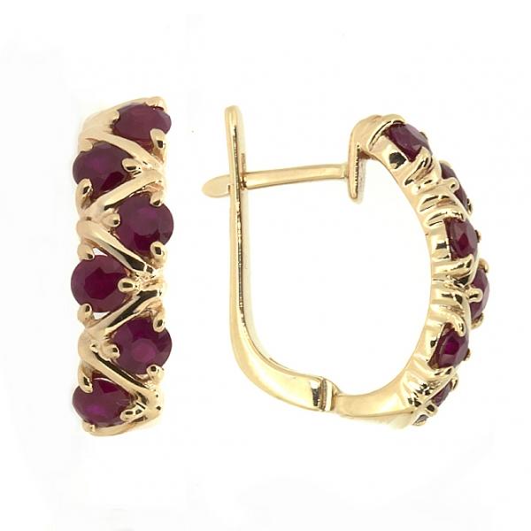 Золотые серьги из красного золота 585 пробы с рубинами ER-16531