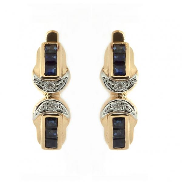 Ювелирные серьги из красного золота 585 пробы с сапфирами и бриллиантами ES-6040