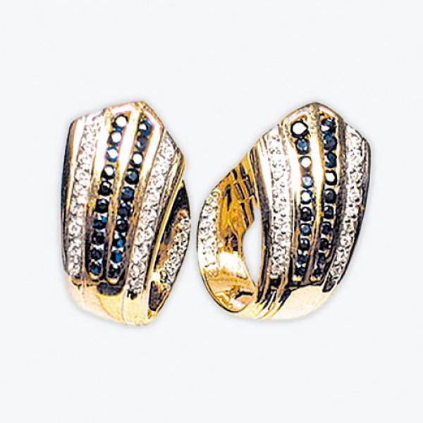 Ювелирные серьги из красного золота 585 пробы с сапфирами и бриллиантами ES-6100