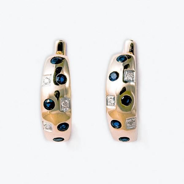 Ювелирные серьги из красного золота 585 пробы с сапфирами и бриллиантами ES-6136