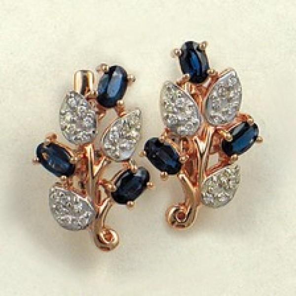 Ювелирные серьги из красного золота 585 пробы с сапфирами и бриллиантами ES-6154