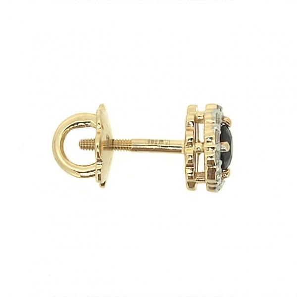 Золотые серьги-пусеты в красном золоте с сапфирами и бриллиантами ES-6539
