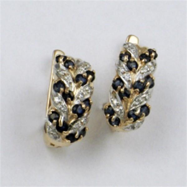 Золотые серьги из красного золота 585 пробы с сапфирами и бриллиантами ES-15431