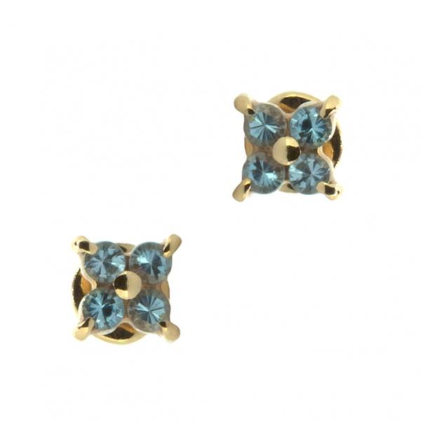 Золотые серьги-пусеты в красном золоте с топазами ET-6560