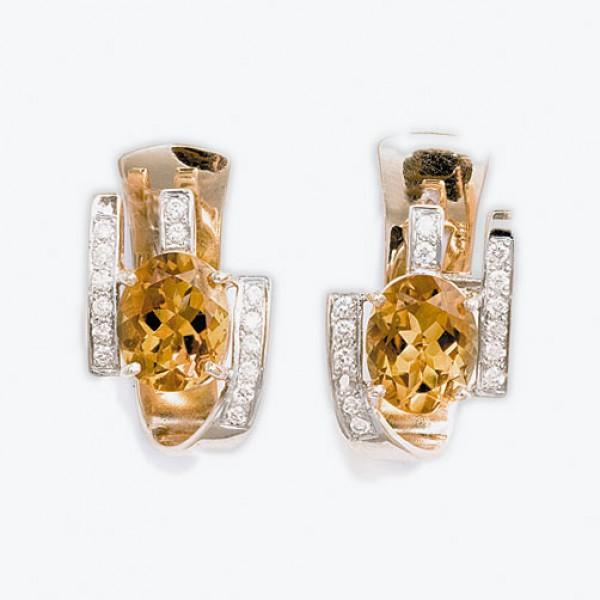 Ювелирные серьги из красного золота 585 пробы с цитринами и бриллиантами ECt-6244