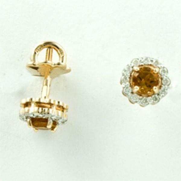Золотые серьги-пусеты в красном золоте с цитринами и бриллиантами ECt-6539