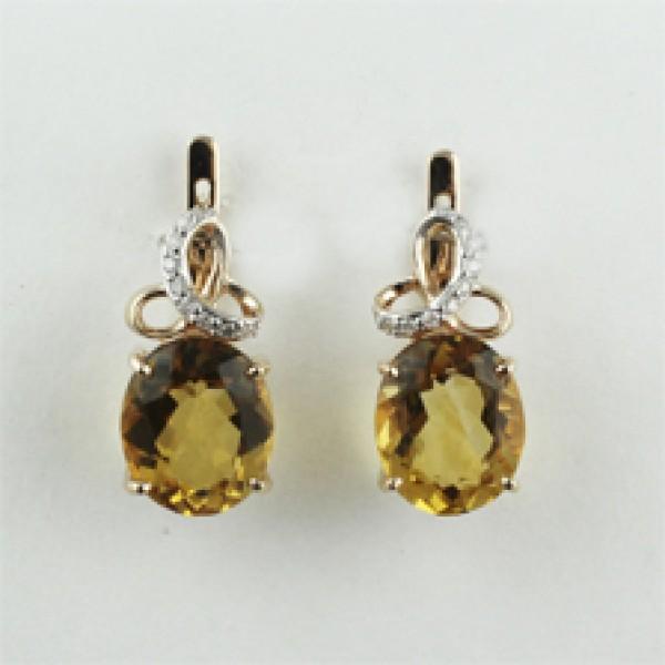 Ювелирные серьги из красного золота 585 пробы с цитринами и бриллиантами ECt-6632